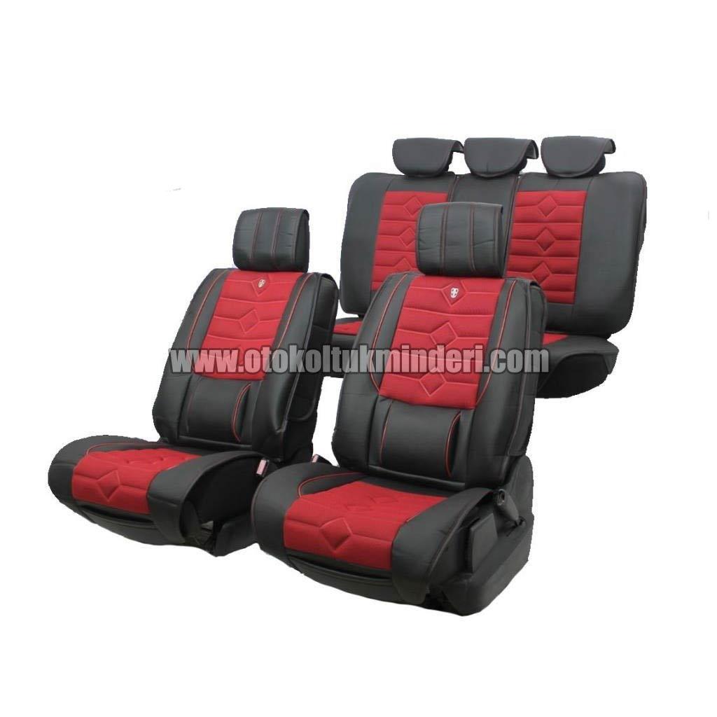 oto koltuk minderi kırmızı - Oto Koltuk Minderi Lüks 3lü - Siyah Kırmızı
