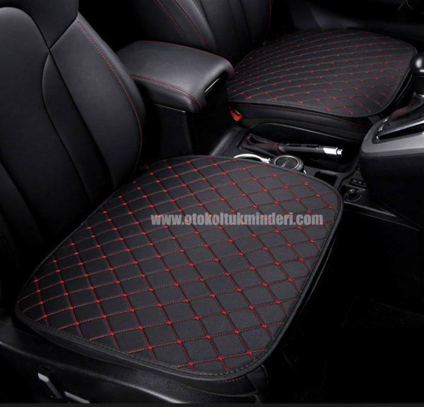 Hyundai deri minder seti 1 600x577 - Hyundai Oto Koltuk minderi Serme Deri - Siyah Kırmızı