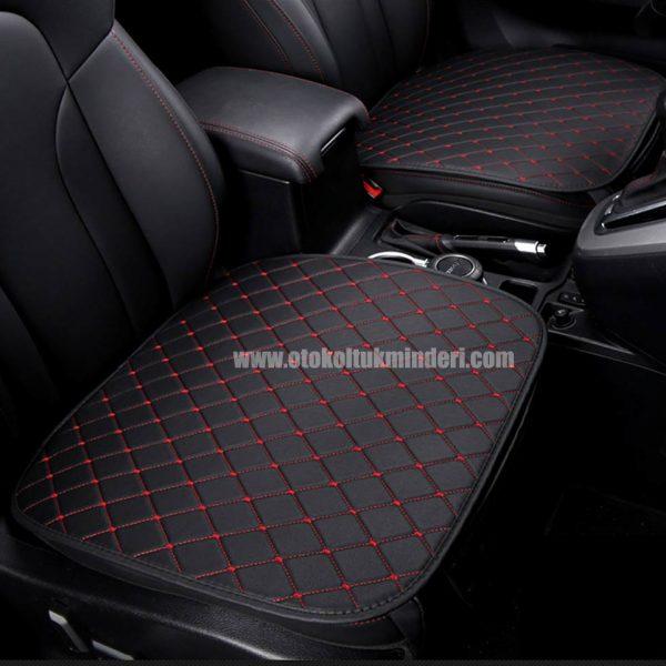 Hyundai deri minder seti 1 600x600 - Hyundai Oto Koltuk minderi Serme Deri - Siyah Kırmızı