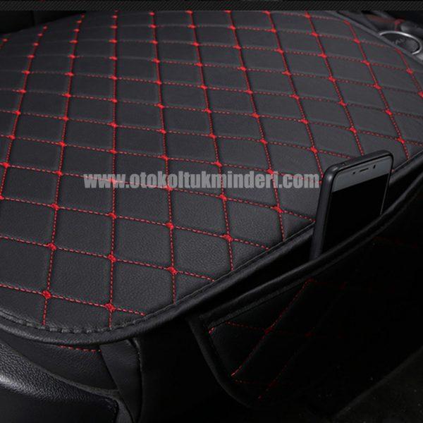Mini oto koltuk minderi deri 600x600 - Mini minder 3lü Serme – Siyah Kırmızı Deri Cepli