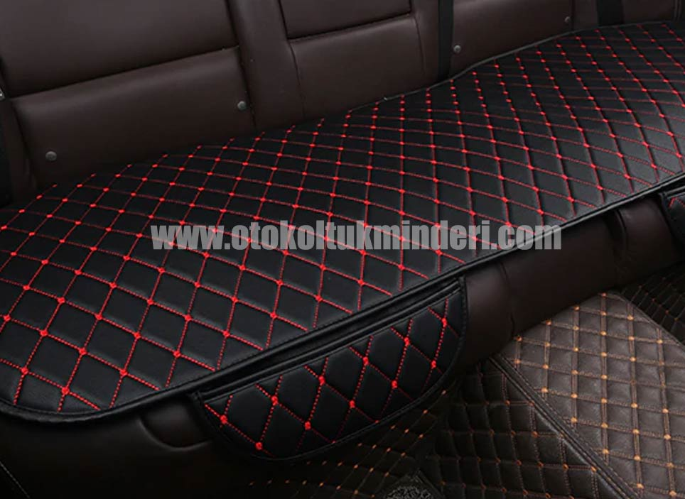 Mini oto koltuk minderi deri lüks - Mini minder 3lü Serme – Siyah Kırmızı Deri Cepli