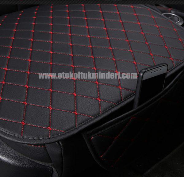 Mitsubishi oto koltuk minderi deri 600x577 - Mitsubishi minder 3lü Serme – Siyah Kırmızı Deri Cepli