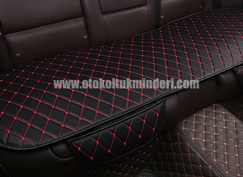 Mitsubishi oto koltuk minderi deri lüks 1 - Mitsubishi minder 3lü Serme – Siyah Kırmızı Deri Cepli