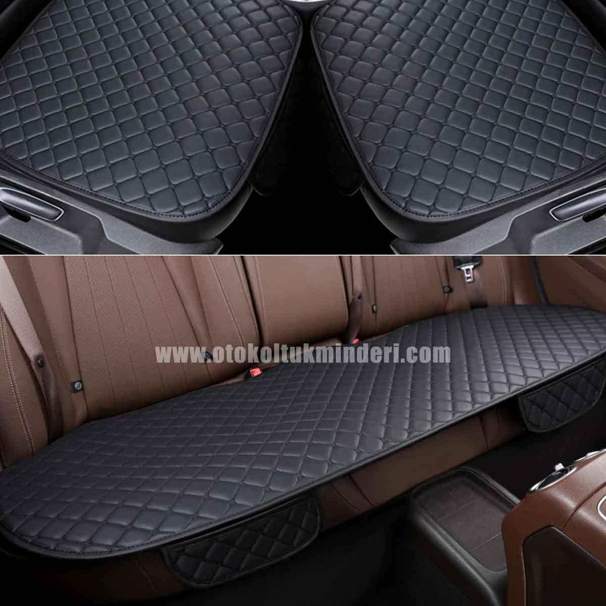 oto koltuk kılıfı - Oto Koltuk minderi 3lü Serme - Siyah Deri Cepli