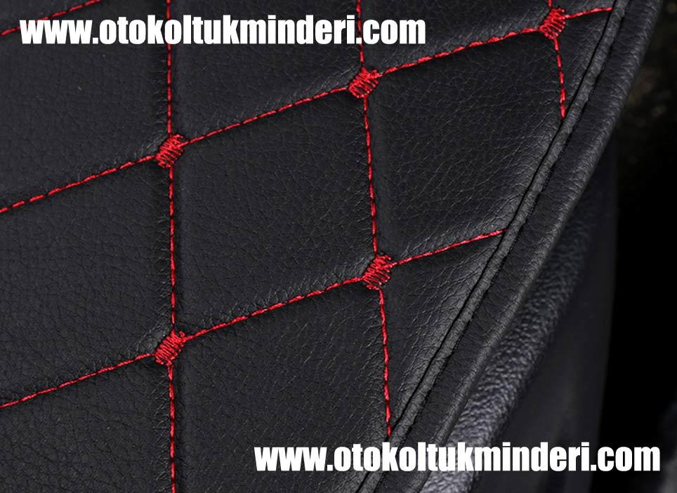 Skoda deri minder - Skoda minder 3lü Serme – Siyah Kırmızı Deri Cepli